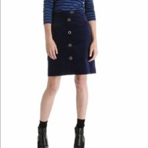 Joe Fresh Navy Velvet Button Skirt size 6